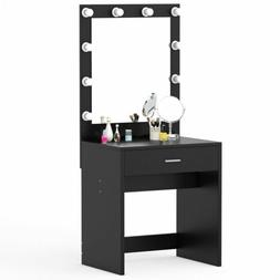 Tribesigns 10 LED Lighted Vanity Table Set with Huge Mirror