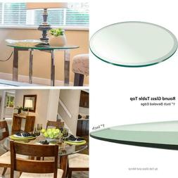 "12"" Inch Round Glass Table Top 1/2"" Thick Tempered Beveled E"