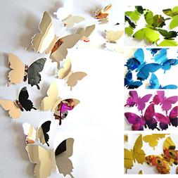 12PCS 3D Butterfly DIY Art Mirror Wall Stickers Home Decal R