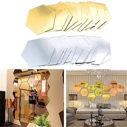 12Pcs 3D <font><b>Mirror</b></font> Hexagon Decorations DIY