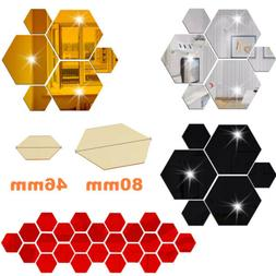 12Pcs 3D Hexagon Wall Stickers Mirror Removable Acrylic Art