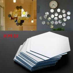 12Pcs 3D Mirror Hexagon Vinyl Wall Sticker Decal Home Decor