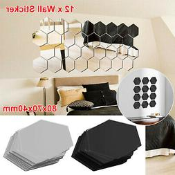 12Pcs Wall Stickers 3D Mirror Hexagon Vinyl Removable Decal