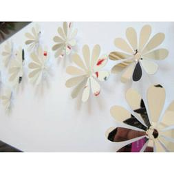 12x 3d flowers art mirror wall stickers decal mural home roo