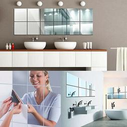 16Pcs 15*15cm Square Mirror Wall Stickers 3D Decal Mosaic Fo