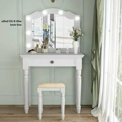 1Drawer Dresser White Dressing Table With Lighted Mirror& St