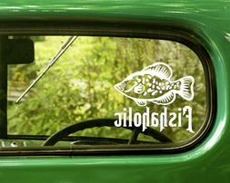 2 CRAPPIE FISHAHOLIC FISHING DECALs Sticker For Car Window B