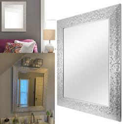 2 Pack Vanity Mirror Silver Mosaic Bathroom Living Room 28""