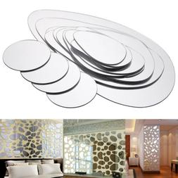 2 Sets Removable Pebble Shape Mirror Wall Sticker Home Room