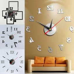 2019 Modern Large Wall Clock 3D Mirror Sticker Unique Big Nu