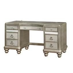 Coaster 204187 Vanity Desk With 7 Drawers In Metallic Platin