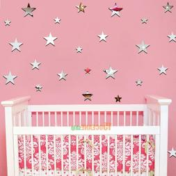 20pcs Removable Star Mirrors Wall Stickers Decal Art Vinyl K