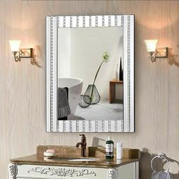 "23.5"" x 31.5"" Rectangle Wooden Frame Wall Vanity Mirror w Re"