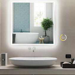 "24"" LED Lighted Bathroom Wall Mirror 3 Colors Aluminum Glass"