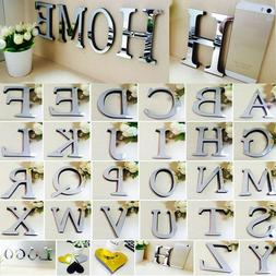 26 Letters DIY 3D Mirror Surface Wall Stickers Mural Art Liv