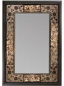 Wall Mirror 27 in x 36 in. French Tile Bronze Copper Amber B