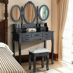 3 mirror 7 drawer vanity makeup table