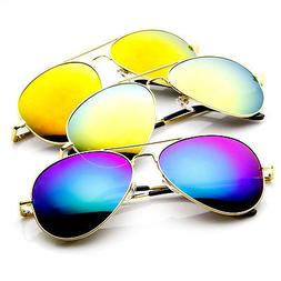 3 Pack  Premium Full Flash Mirrored Spring Temple Aviator Su