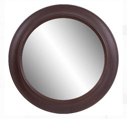 Patton Wall Decor 30 Inch Bronze Woodgrain Round Wall Mirror