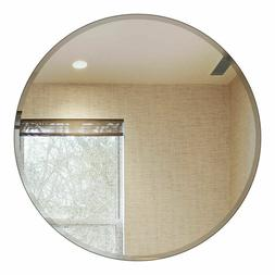 "30"" Inch Round Beveled Polished Frameless Wall Mirror With H"