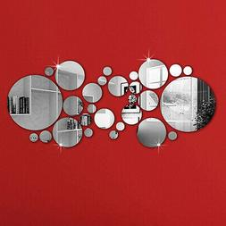30 Sheets Round Mirrored Decals DIY Wall Sticker Removable M