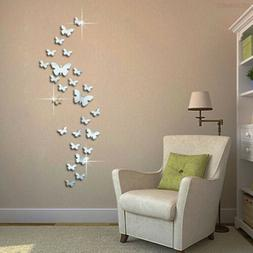 30x 3D Mirrors Butterfly Wall Stickers DIY Removable Art Dec