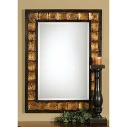 38 in. x 28 in. Mahogany Framed Mirror Black Undercoat for H