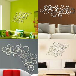 3D Acrylic Mirror Wall Sticker Modern Decal Art Mural Home D