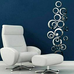 3D Circle Mirror Wall Sticker Removable Decal Acrylic Art Mu