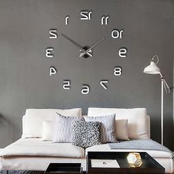3D DIY Large Frameless Wall Clock Mirror Number Sticker Mode