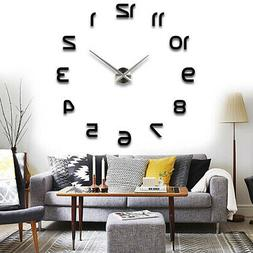 3D DIY Large Frameless Wall Clocks Mirror Number Sticker Mod