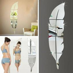 3D DIY Removable Feather Mirror Home Room Decal Vinyl Art St