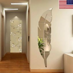3D DIY Removable Feather Mirror Vinyl Decal Room Home Decor