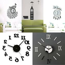 3D DIY Wall Clock Home Modern Decoration Crystal Mirror Viny