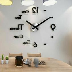 3D Large Wall Clock Frameless Mirror Number Sticker Modern A