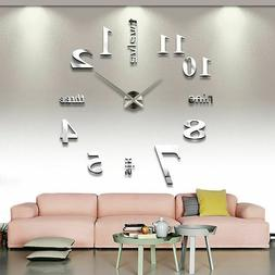 3d Large Wall Clocks Mirror Stickers Modern Design Abstract