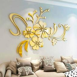 3D Mirror Flower Removable Wall Stickers Art Mural Decal Liv