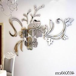 3D Mirror Flower Wall Stickers Acrylic Vinyl Stickers For Li