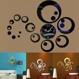 3D Mirrored Wall Clocks Modern Wall Sticker Clock Bedroom Ho