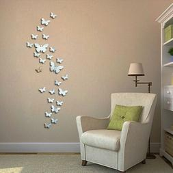 3D Mirrors Butterfly Wall Stickers DIY Removable Art Decals