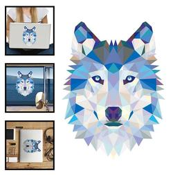 3D Wall Sticker For Colorful Geometry Wolf Head Laptop Decal