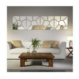 4 Squares Modern Design 3D Mirror Effect Wall Stickers For H