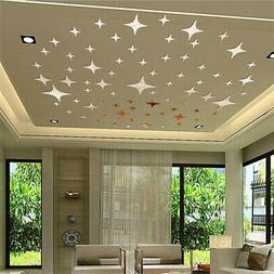 50PCS 3D Star Ceiling Mirror Wall Sticker Art Decal Ceiling