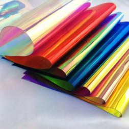 52 clear holographic iridescent pvc fabric mirrored