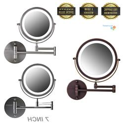 """Ovente 7"""" Wall Mounted LED Lighted Magnifying Makeup Mirror"""
