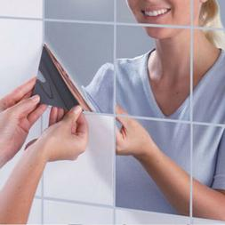 9 Pcs 3D Mirror Tile Wall Sticker Square Self Adhesive Room