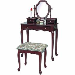 Coaster Traditional Brown-Red Vanity with Tapestry Fabric Se