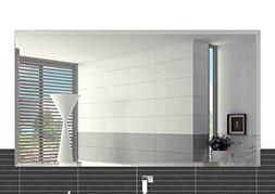 """Fab Glass and Mirror Rectangle Frameless Wall Mirror, 24"""" x"""