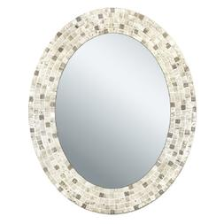 Head West Travertine Mosaic Oval Mirror, 24 by 30-Inch