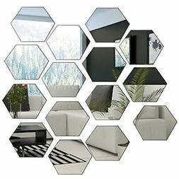 Mirror Wall Stickers Hexagon Mirror 15 Pieces Sheet for Home